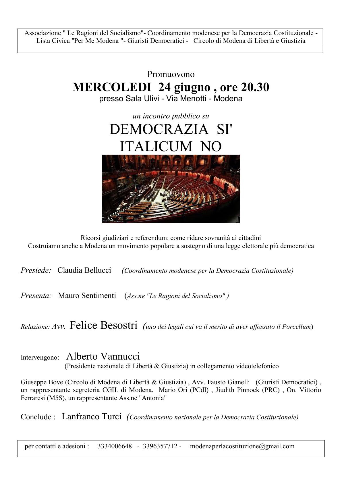 Italicum volantino 24 giugno Modena