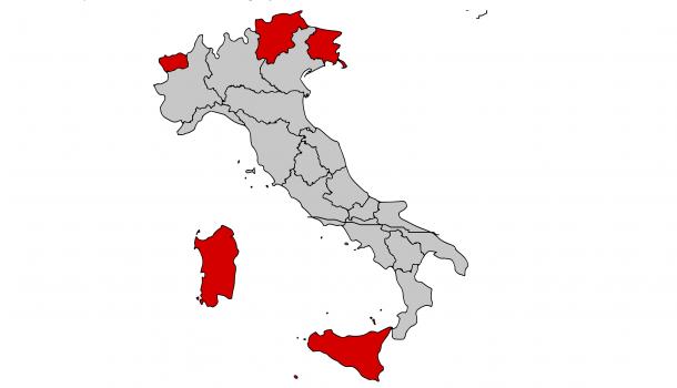 Cinque superstati le regioni speciali