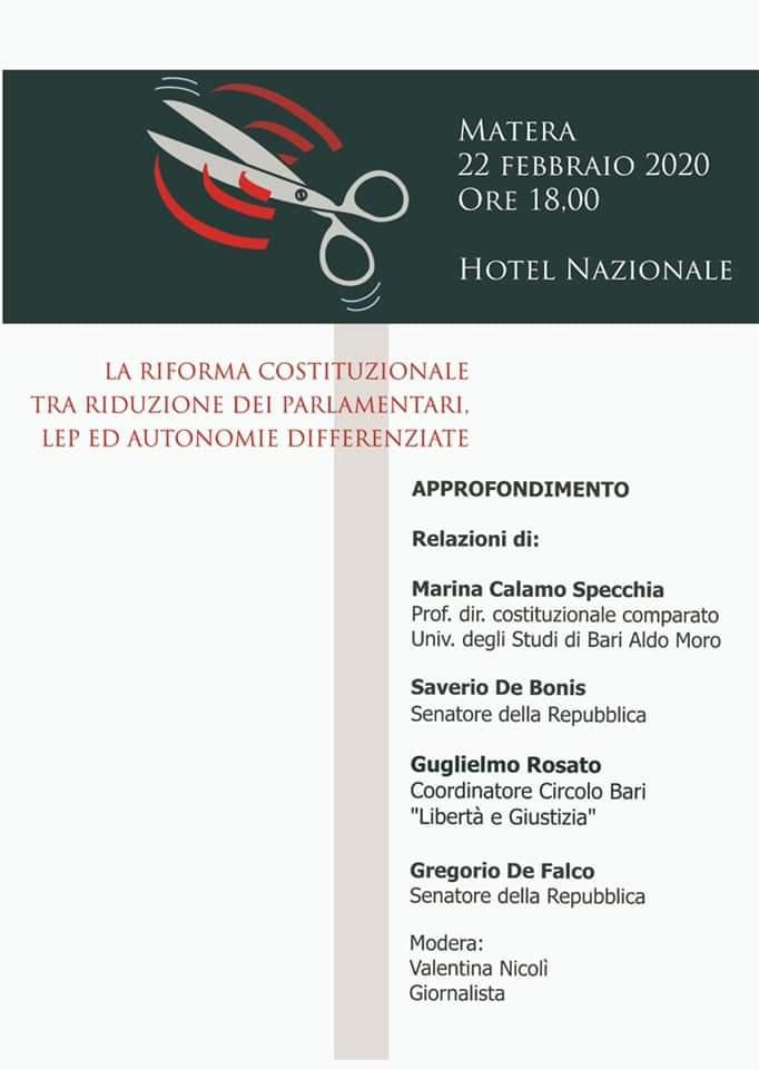 Locandina Matera 22 febbraio 2020