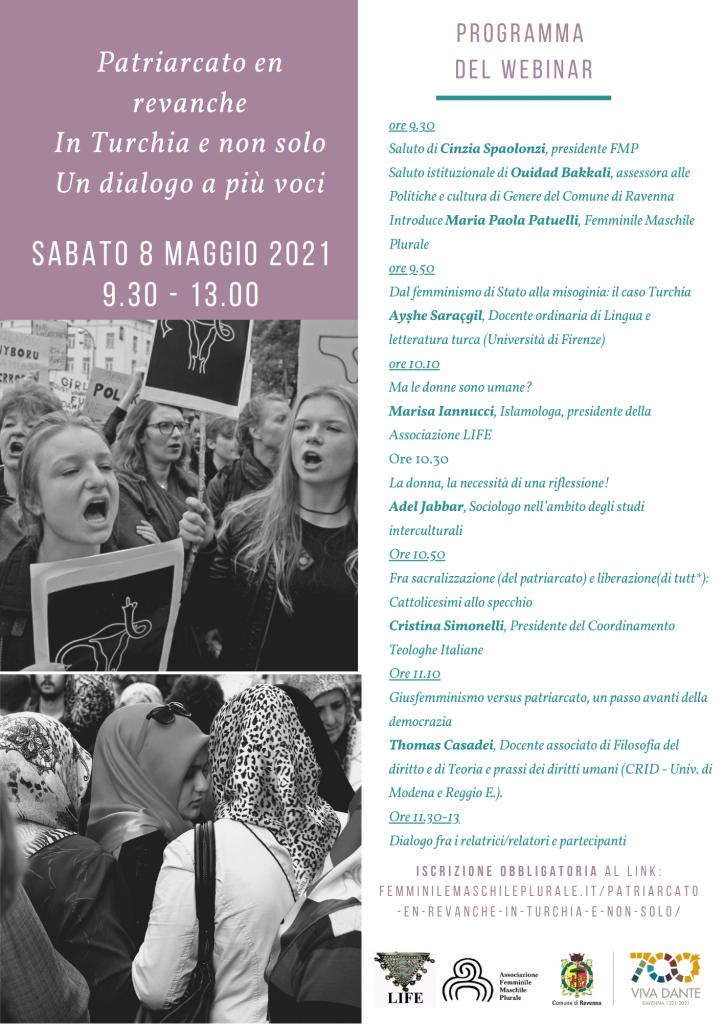 Patriarcato en revanche In Turchia e non solo Un dialogo a più voci Sabato 8 maggio 2021 9.30 - 13